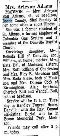 BALL ADAMS (OBITUARY), ARLEYNE - Boone County, West Virginia   ARLEYNE BALL ADAMS (OBITUARY) - West Virginia Gravestone Photos