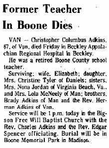 ADKINS (OBITUARY), CHRISTOPHER COLUMBUS - Boone County, West Virginia   CHRISTOPHER COLUMBUS ADKINS (OBITUARY) - West Virginia Gravestone Photos