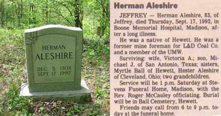 ALESHIRE, HERMAN - Boone County, West Virginia | HERMAN ALESHIRE - West Virginia Gravestone Photos
