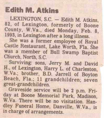 ATKINS (OBITUARY), EDITH M - Boone County, West Virginia | EDITH M ATKINS (OBITUARY) - West Virginia Gravestone Photos