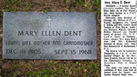 DENT, MARY ELLEN - Boone County, West Virginia   MARY ELLEN DENT - West Virginia Gravestone Photos