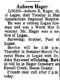 HAGER, AUBERN - Boone County, West Virginia | AUBERN HAGER - West Virginia Gravestone Photos