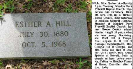 HILL, ESTHER A - Boone County, West Virginia | ESTHER A HILL - West Virginia Gravestone Photos