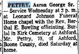 PETTRY (OBITUARY), AARON GEORGE - Boone County, West Virginia | AARON GEORGE PETTRY (OBITUARY) - West Virginia Gravestone Photos