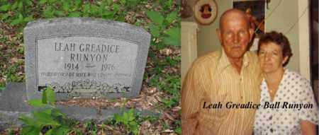 BALL RUNYON, LEAH GREADICE - Boone County, West Virginia | LEAH GREADICE BALL RUNYON - West Virginia Gravestone Photos