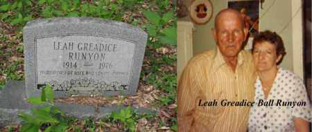 BALL RUNYON, LEAH GREADICE - Boone County, West Virginia | LEAH GREADICE BALL RUNYON - West Virginia Gravestone Photos