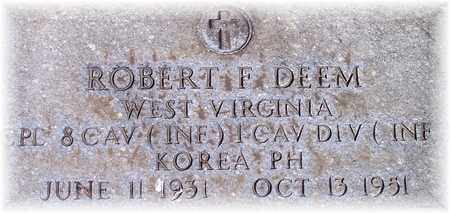 DEEM (VETERAN KOR), ROBERT F. - Wood County, West Virginia | ROBERT F. DEEM (VETERAN KOR) - West Virginia Gravestone Photos